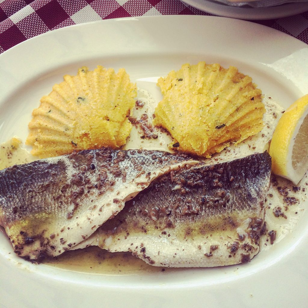 Sea bass with truffles and polenta...