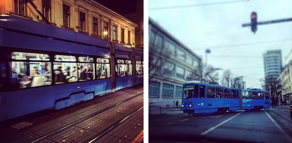 Graffiti free, very clean, sky blue Zagreb trams