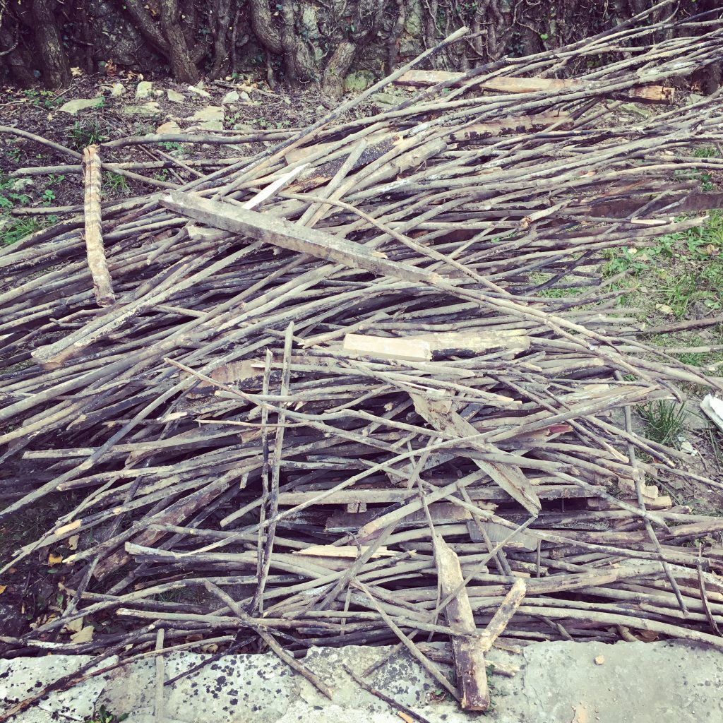 The kindling pile, recovered from the void