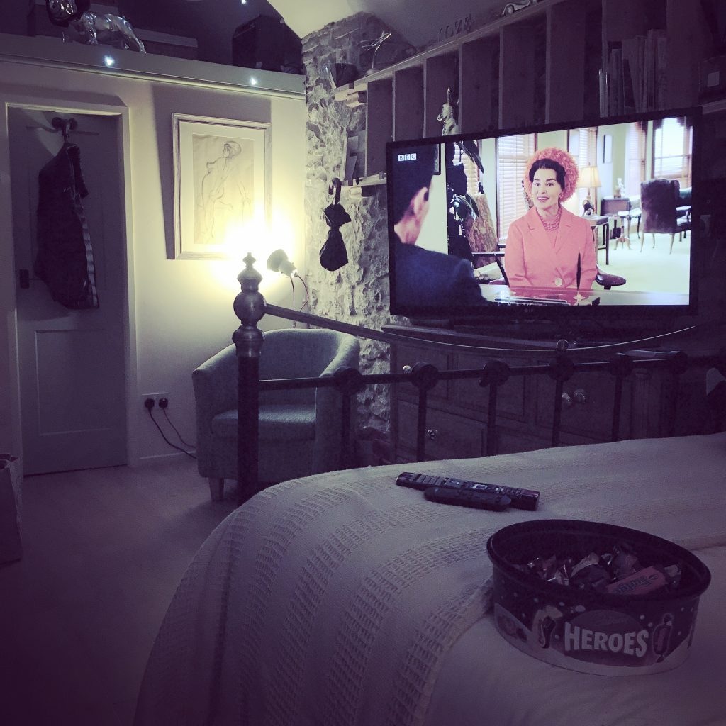 Xmas chocolates, a comfy bed & a series about Bette Davis and Joan Crawford. Perfect.