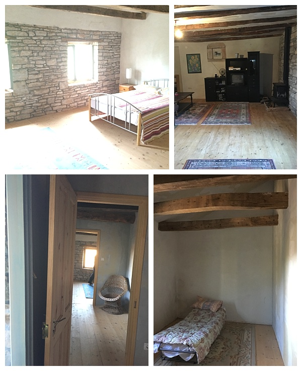 Photos taken just before we moved in, showing the pine floorboards...