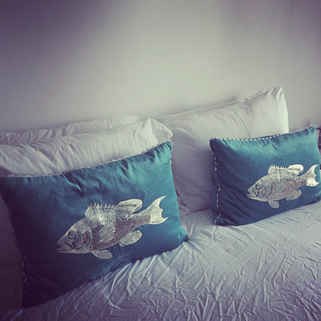 Here little fishy... I *knew* all of the cushions I've been stockpiling would be used. Eventually.