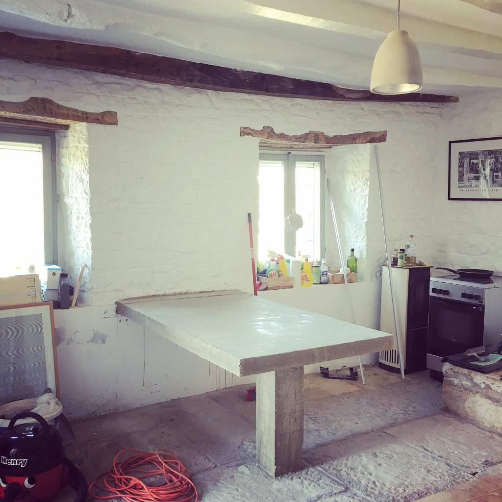 Although The Well Room is still in chaos, it's not quite this bad anymore. We no longer have an oven in the corner, for instance. This just shows the structur eof the concrete table we had built.