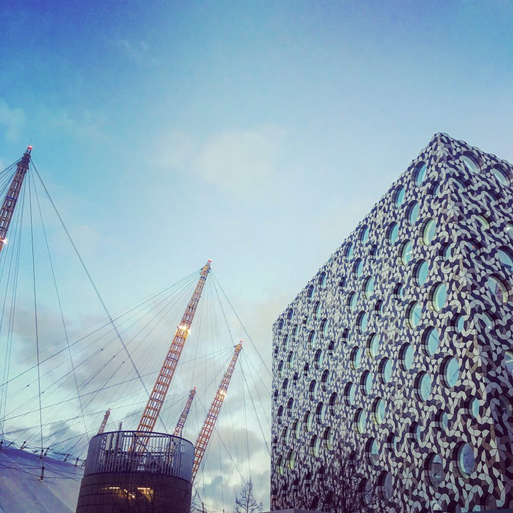 Beautiful facade of Ravensbourne University, next to the O2 Arena