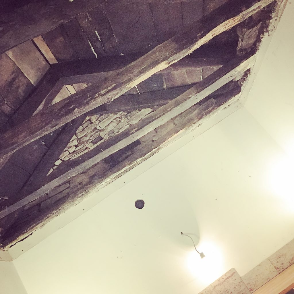 The original ceiling is finally exposed.