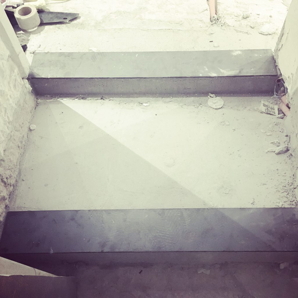 New steps with reinforced plates, with gaps for LED strips