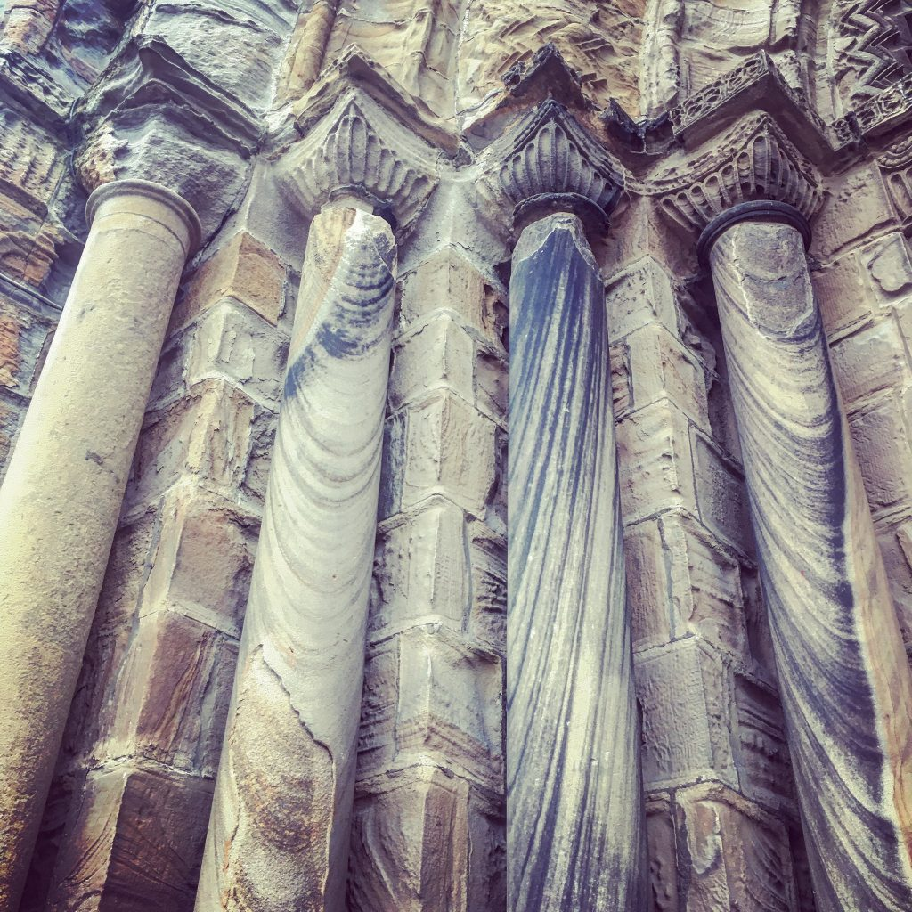 The beautifully weathered pillars at the entrance to the cathedral.