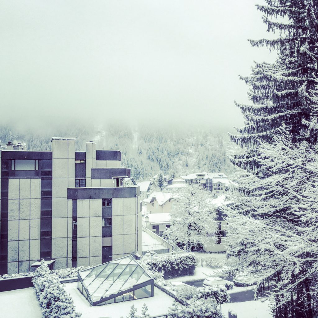 Snowy view from the balcony of our room at Hotel Prieure, Chamonix