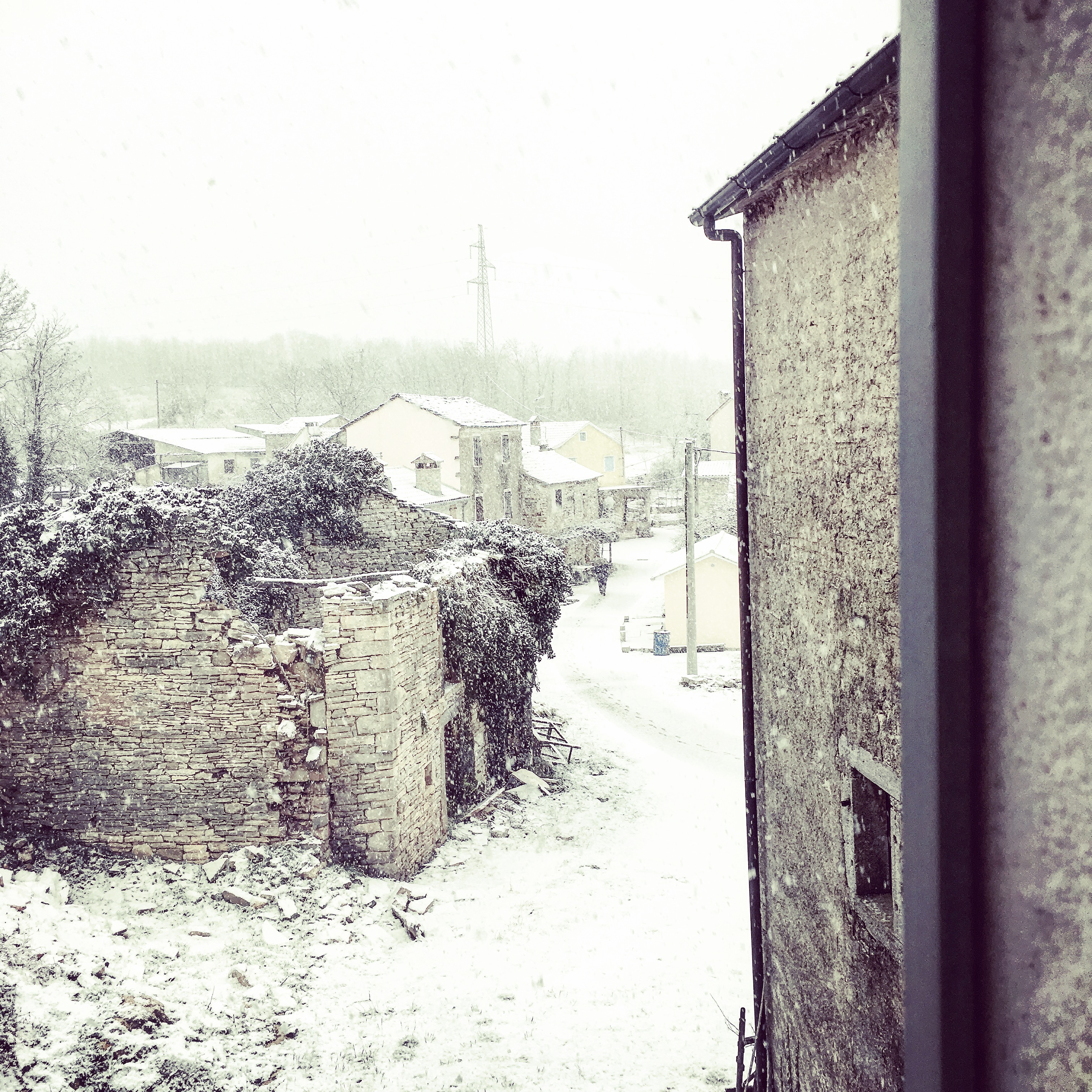 The abandond house, we think, is about to be renovated, by our Italian neighbours...