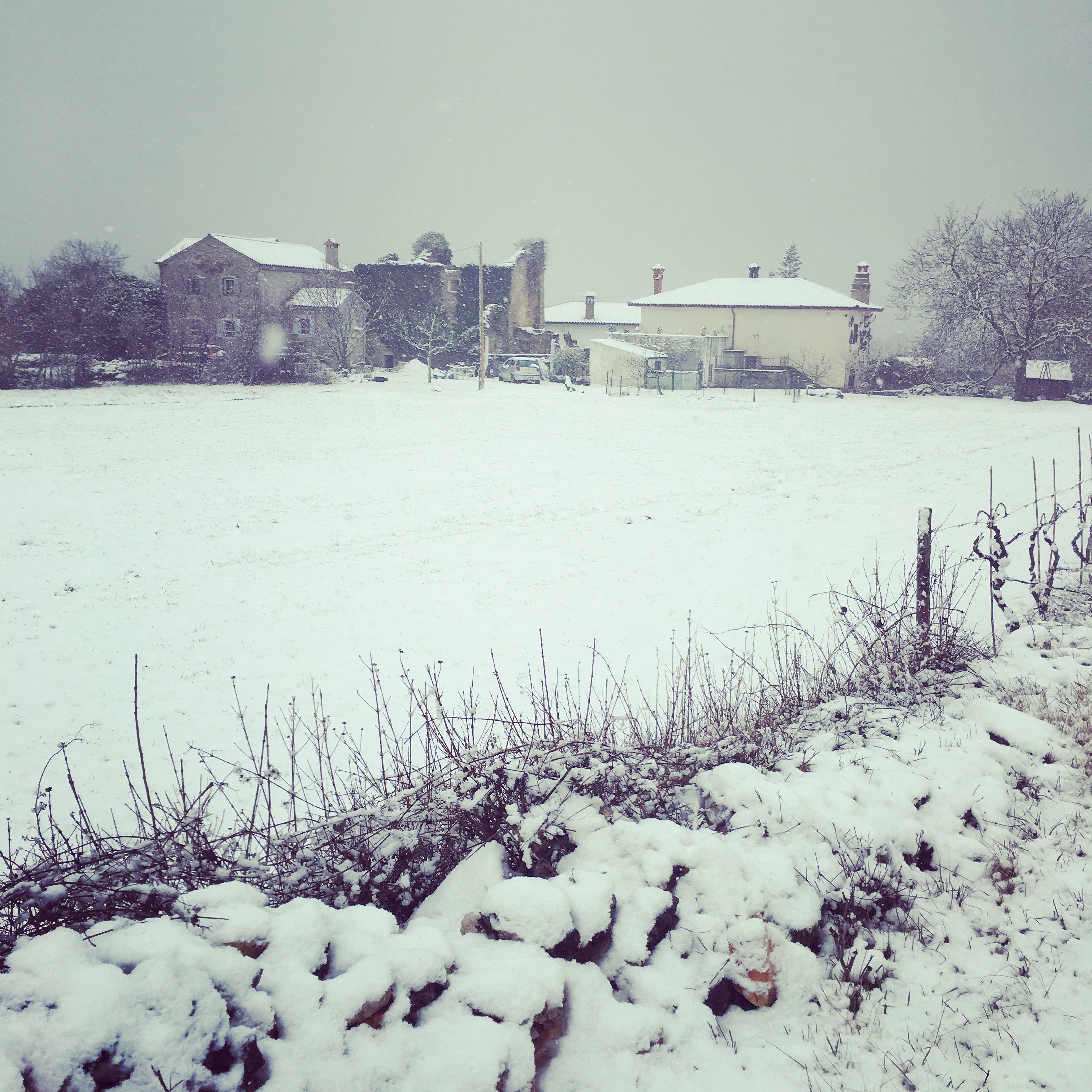 Our house, on the left, with a snowy roof...