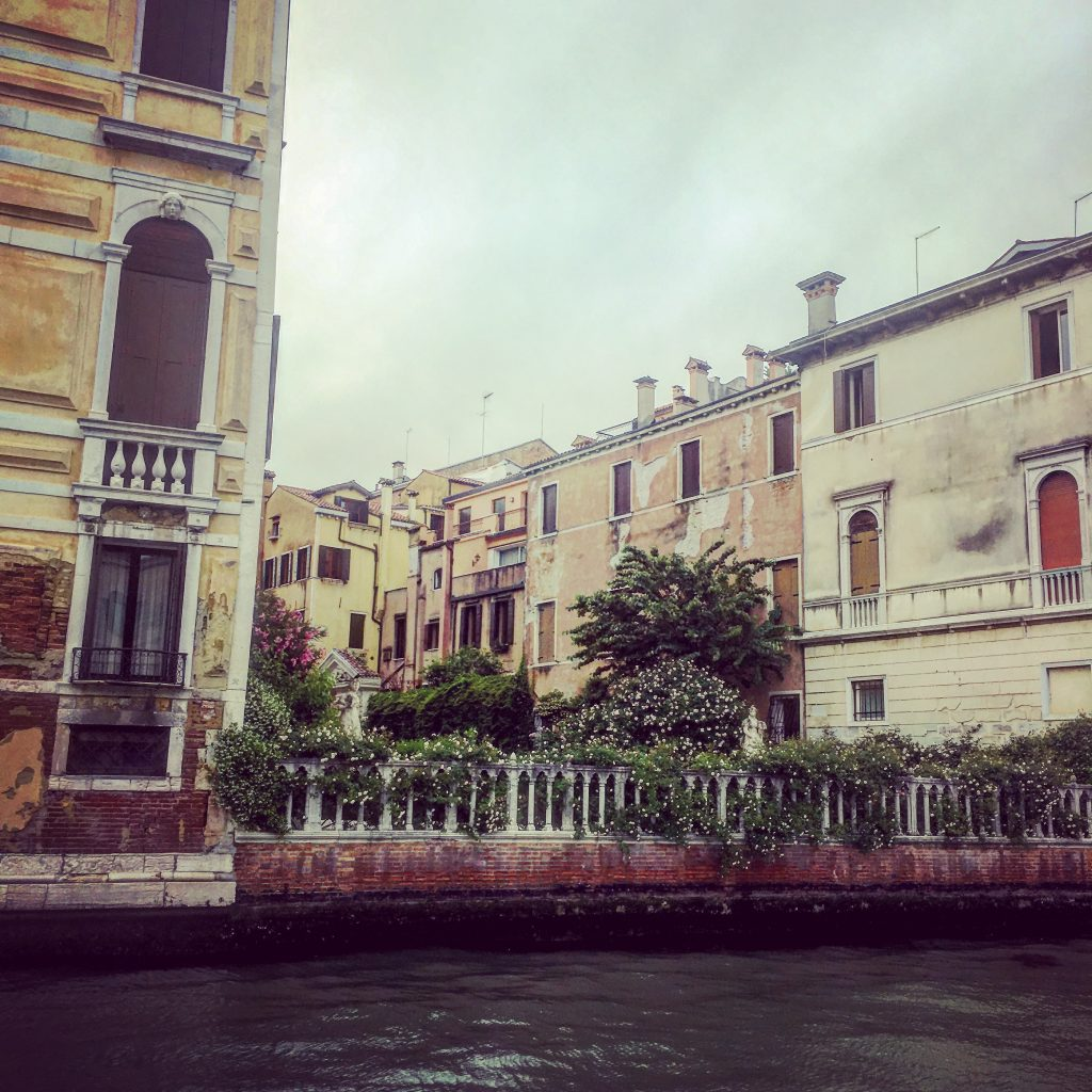Walled courtyard overlooking The Grand Canal, Venice