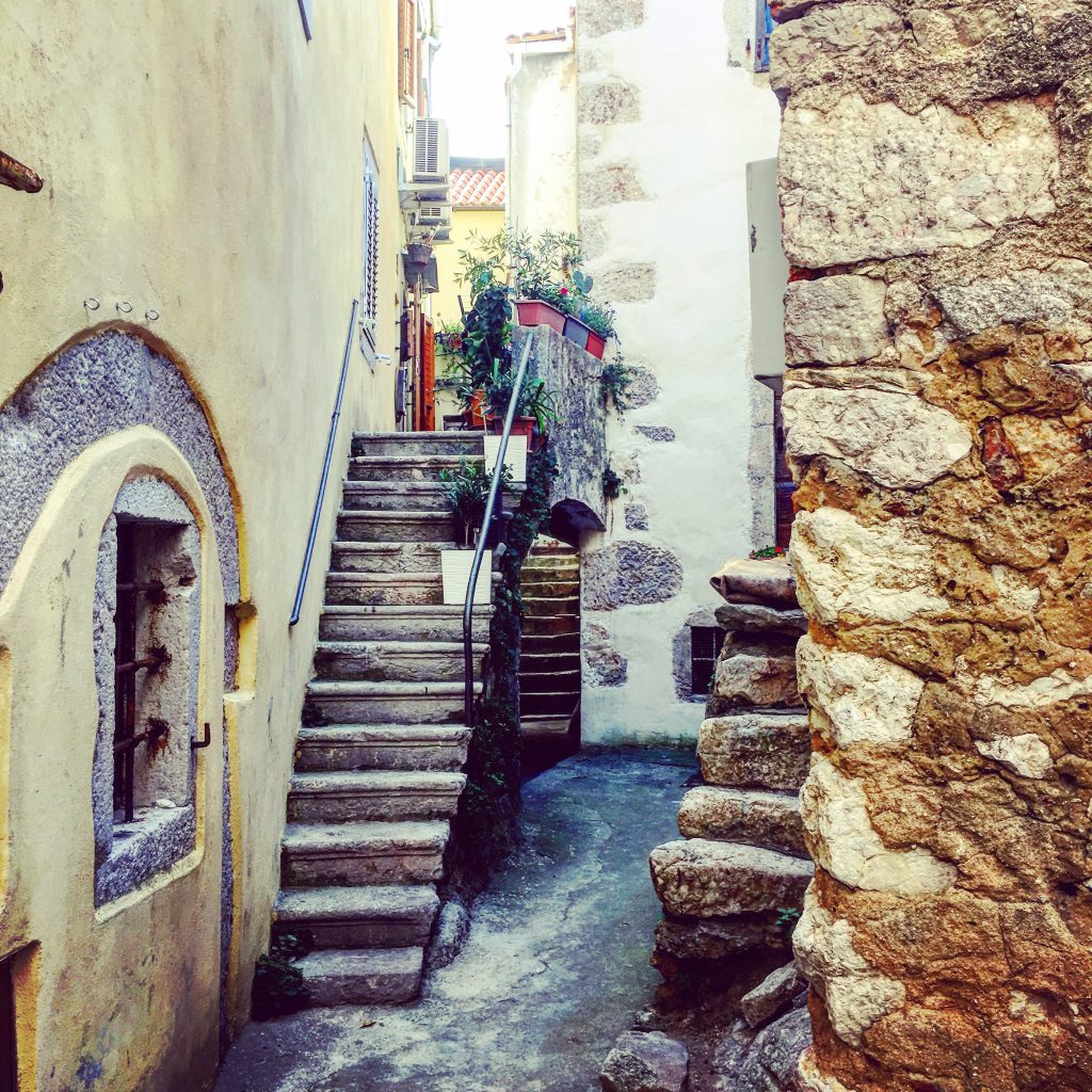 Cobbled streets, well worn steps and ancient buildings : Vrbnik, Krk