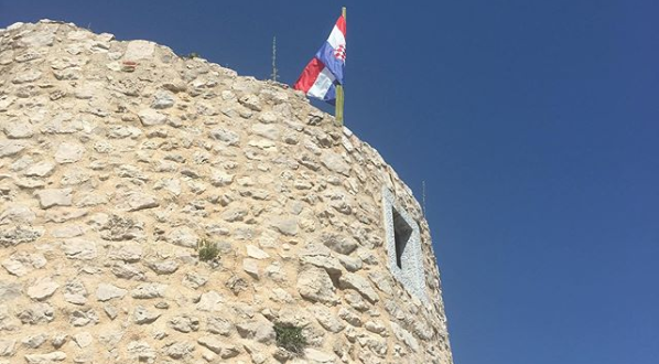 A turret on the medieval city walls of Vrbnik, Krk
